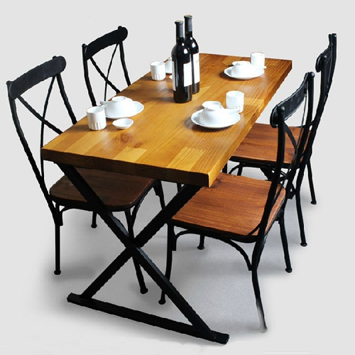 bộ bàn ghế chân sắt mặt gỗ